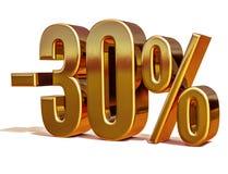 3d złoto 30 procentów rabata znak Obraz Royalty Free