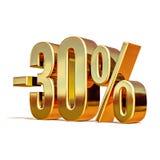 3d złoto 30 procentów rabata znak Zdjęcie Royalty Free