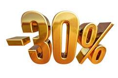 3d złoto 30 procentów rabata znak Zdjęcia Stock