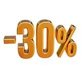 3d złoto 30 procentów rabata znak Obrazy Stock
