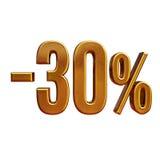 3d złoto 30 procentów rabata znak Zdjęcie Stock