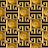 3d złoto textured grecki wektorowy bezszwowy wzór Obrazy Stock