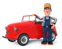 3d zabawy ilustracyjny mechanik w kombinezonach z samochodem obrazy royalty free