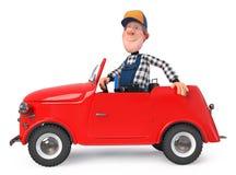 3d zabawy ilustracyjny mechanik w kombinezonach z samochodem obrazy stock