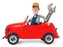 3d zabawy ilustracyjny mechanik w kombinezonach z samochodem fotografia royalty free