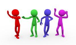 3d zabawy tana kolorowi ludzie Fotografia Royalty Free