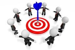 3D zakenlieden, dartboart - het concept van het doelsucces Stock Foto's
