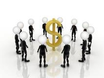 3d zakenliedengroepswerk met Amerikaanse dollarteken in het midden Stock Foto