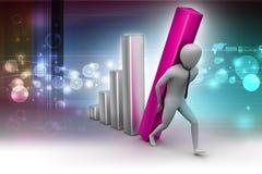 3d zakenman die de grote kolom van het diagram dragen Stock Afbeelding