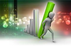 3d zakenman die de grote kolom van het diagram dragen Stock Fotografie