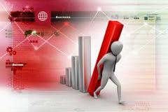 3d zakenman die de grote kolom van het diagram dragen Royalty-vrije Stock Afbeeldingen