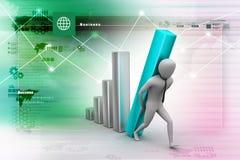 3d zakenman die de grote kolom van het diagram dragen Stock Foto