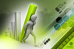 3d zakenman die de grote kolom van het diagram dragen Stock Afbeeldingen