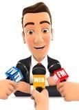3d zakenman die geïnterviewde media zijn vector illustratie