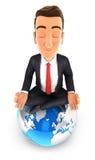 3d zakenman die yoga bovenop de aarde doen Stock Foto's