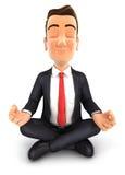 3d zakenman die yoga doen Stock Afbeelding