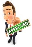 3d zakenman goedgekeurde zegel royalty-vrije illustratie