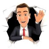 3d zakenman golvende hand door gat in muur vector illustratie