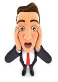 3d zakenman met geschokte gelaatsuitdrukking Stock Foto