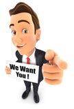3d zakenman met willen wij u bericht stock illustratie