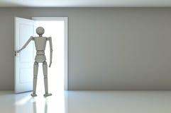 3d zakenman in witte ruimte met open deuren Royalty-vrije Stock Afbeeldingen