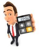 3d zakenmancalculator stock illustratie