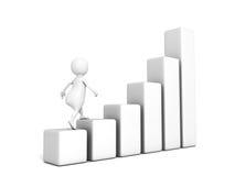 3d zakenmangang omhoog op het toenemen grafiekgrafiek Stock Foto
