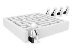 3d zakenmanpersonen gaan naar een labyrint Stock Afbeeldingen