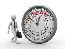 3d zakenmantijd om klok te investeren Royalty-vrije Stock Foto