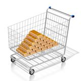 3D zakupy cart/gold/ingot Obraz Stock