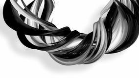 3D zapętlająca animacja abstrakcjonistyczni biali faborki przekręca i rusza się wokoło z błyskotliwością w świetle 4K bezszwowy ilustracja wektor