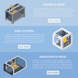 3D zastosowań drukowego pojęcia sztandaru wektorowy horyzontalny set Fotografia Royalty Free