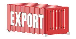 3d zbiornik z eksportowym tekstem w nim ilustracja wektor