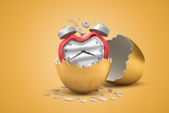 3d zbliżenia rendering łamany i przegięty czerwony budzik ten słuszny klujący się za złotym jajku od ilustracji
