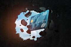 3d zbliżenia rendering błękitna plastikowa karty kredytowej łamania dziura w czerni ścianie z niebieskim niebem widzieć przez dzi ilustracji