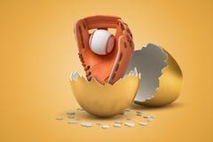 3d zbliżenia rendering baseball piłka i rękawiczka ten słuszny klujący się za złotym jajku od royalty ilustracja