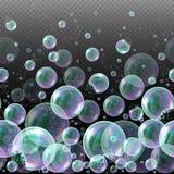 3d zeep transparante bellen Watergebieden, realistische ballen, zeepachtige ballons, zeepsop vector illustratie