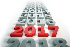 3d - Zeitachsekonzept 2017 - Rot des neuen Jahres Stockfotos