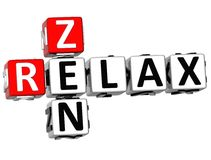 3D Zen Relax Crossword Royaltyfri Bild