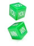 3d zieleni kostka do gry czary Ty wygrywasz Fotografia Stock