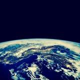 3 d ziemi pozbawione linii horyzontu interliniuje najlepszej biznesowej pojęcia pojęć globalnej kuli ziemskiej rozjarzone ręki in Zdjęcia Royalty Free