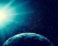 3 d ziemi pozbawione linii horyzontu interliniuje najlepszej biznesowej pojęcia pojęć globalnej kuli ziemskiej rozjarzone ręki in Zdjęcie Stock