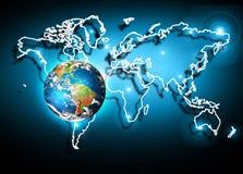 3 d ziemi pozbawione linii horyzontu interliniuje najlepszej biznesowej pojęcia pojęć globalnej kuli ziemskiej rozjarzone ręki in Zdjęcie Royalty Free
