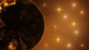 3D ziemia nocą z Lekkimi promieniami i gwiazdozbiór pętli tłem ilustracja wektor