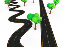 3d zigzag vs straight road Stock Photo