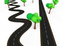 3d zigzag vs straight road Stock Photo