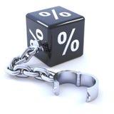 3d Zinssatzwürfel auf Kette Stockbilder