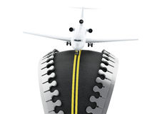 3d Zipper open with road inside and airplane Stock Photo