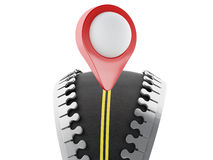3d Zipper open with road and map pointer Stock Images