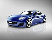 3D zmrok - błękitny sportowy samochód Zdjęcia Royalty Free